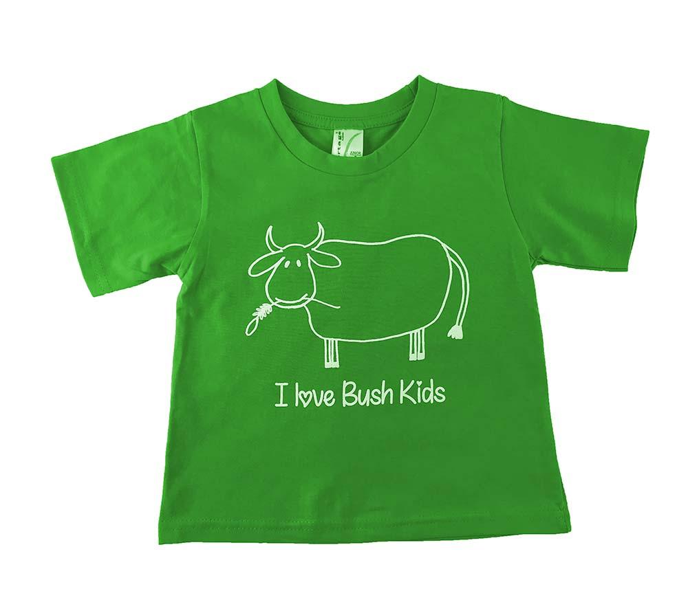 cow design green t-shirt