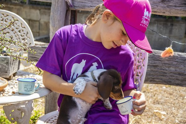 Woolly Enamel Mug, Bush Kids Hot Pink Cap and Country Girl Purple T-shirt.