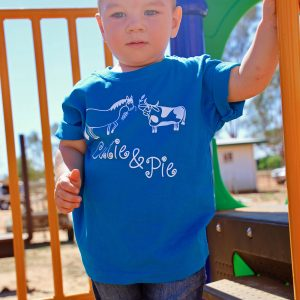boy in blue cutie pie shirt