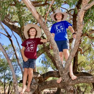 outback kid tshirts in tree