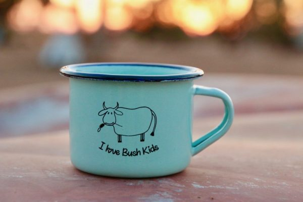 blue green moo enamel mug