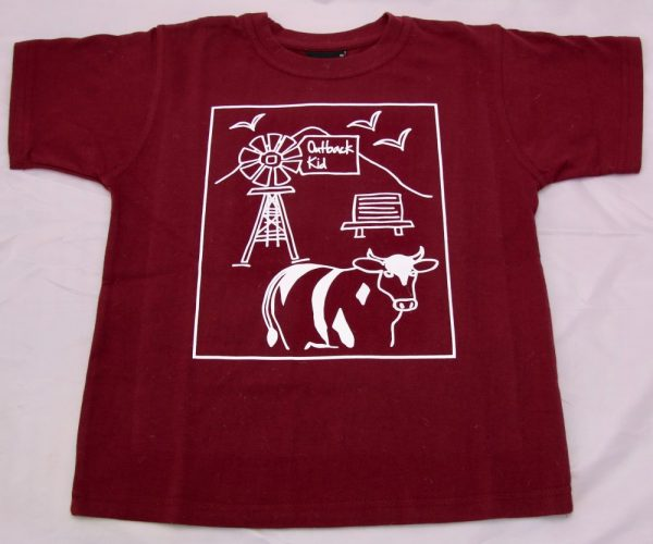 Maroon Outback Kid t-shirt