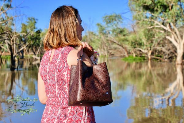 Classic 100% Leather Choc Floral Bucket Bag.