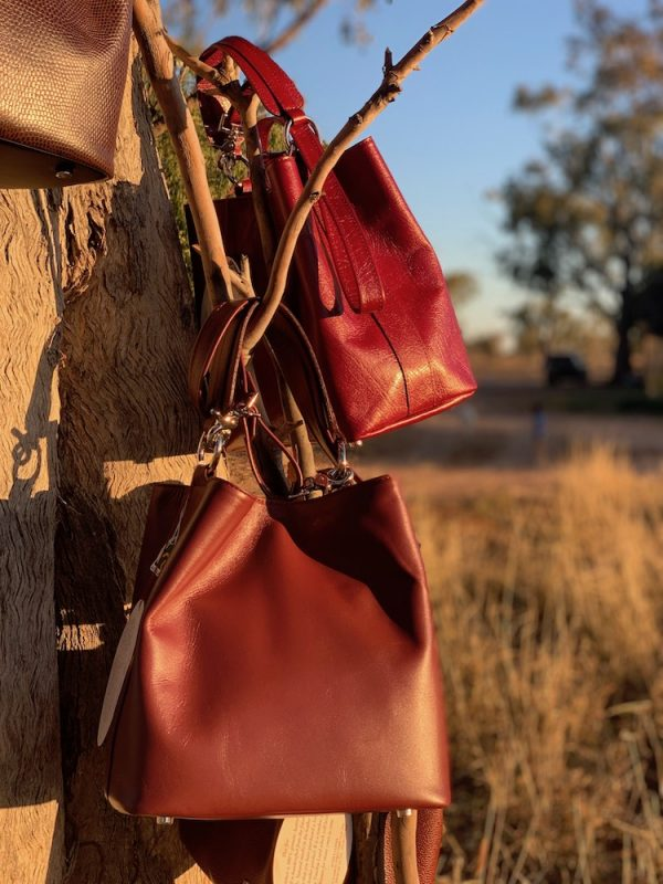 Plum 100% leather Bucket Bag