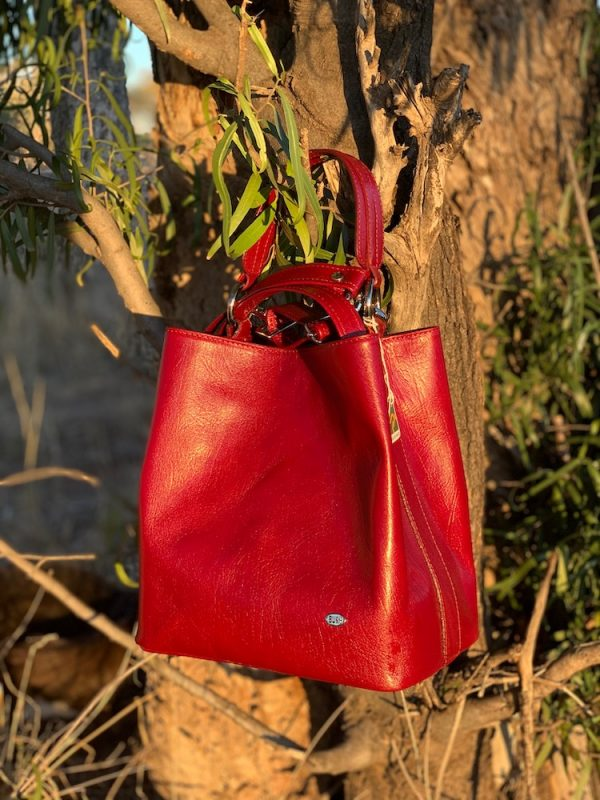 Cherry Red Bucket Bag 100% Leather
