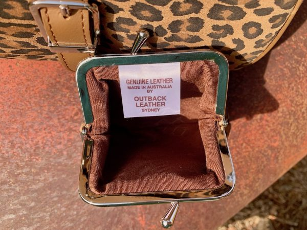 Australian Made Leopard Print 2 Frame Purse in 100% leather.