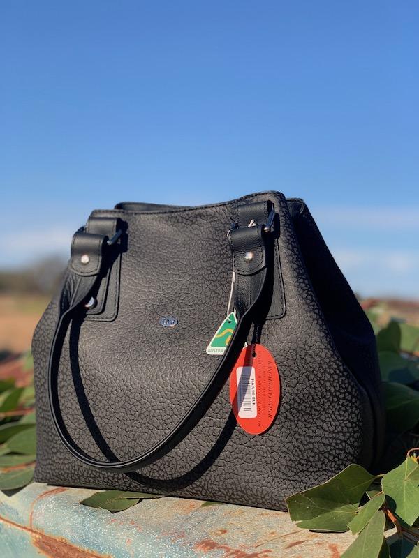Textured Black Kangaroo Leather Alice