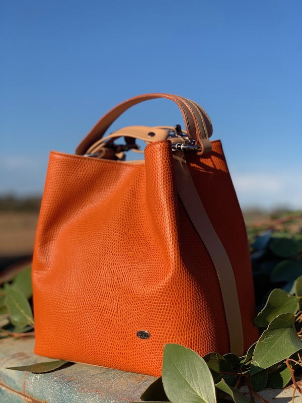 Australian made Kangaroo leather in Orange lizard print.