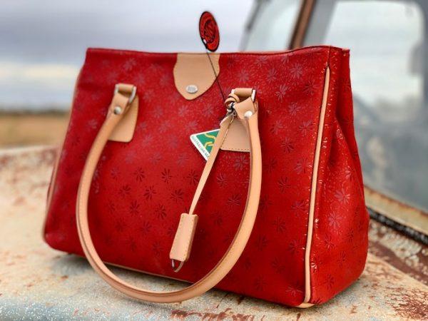 Red Floral Suede 100% kangaroo Matilda handbag made in Sydney!