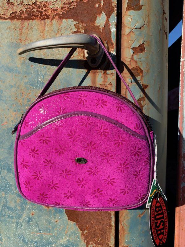 Magenta Kangaroo Leather Suede Shoulder bag.
