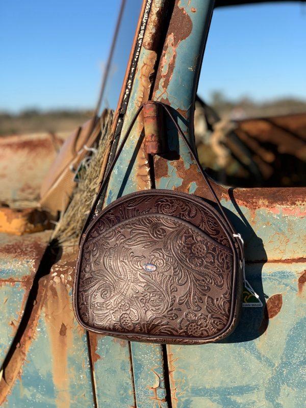 Choc Floral 100% Leather Shoulder Bag.