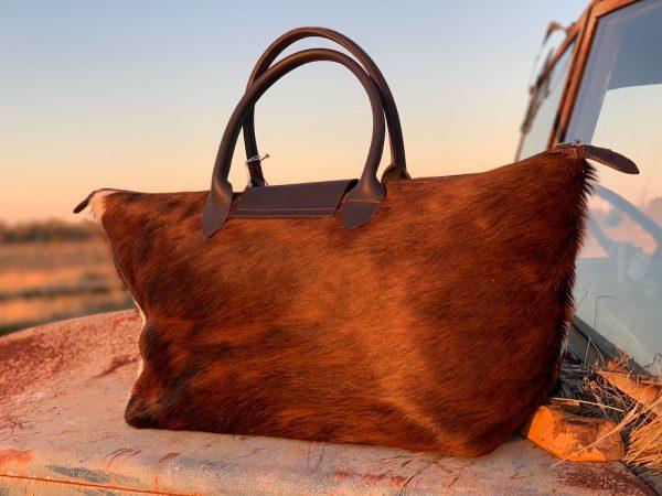 Back of Tri-Coloured Ladies Weekender Rawhide Overnight bag.