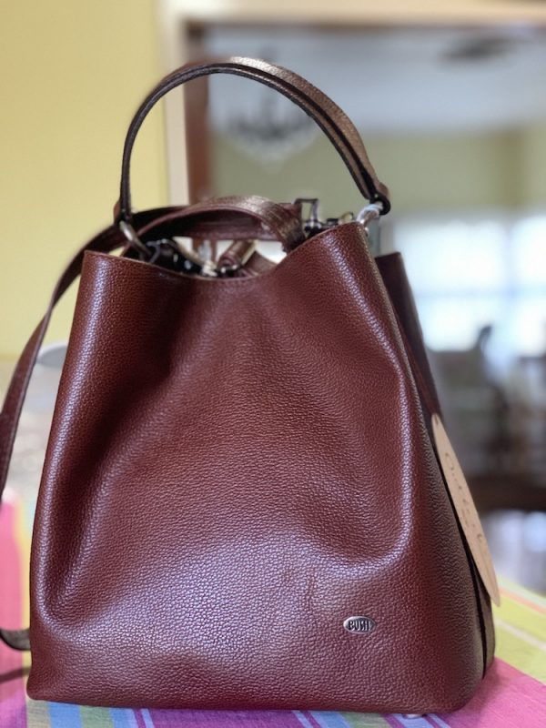Rich brown textured leather Australian made Bucket bag