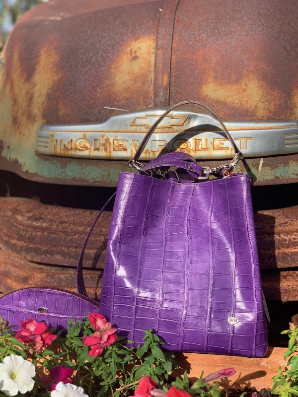 Purple Croc Print 100% Leather Bucket Bag Australian made