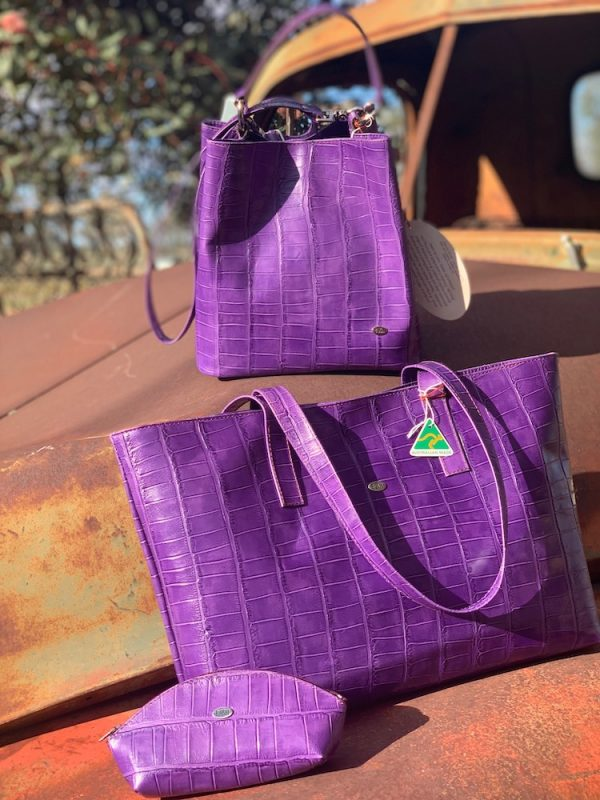 Purple Leather Croc Print Bucket Bag, Tote bag and accessory pouch