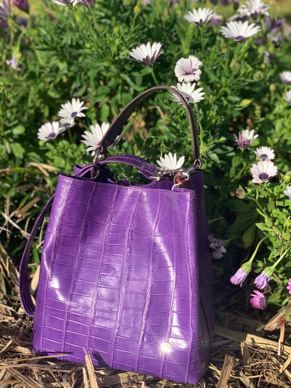 Purple Croc Print 100% Leather Australian made Bucket Bag