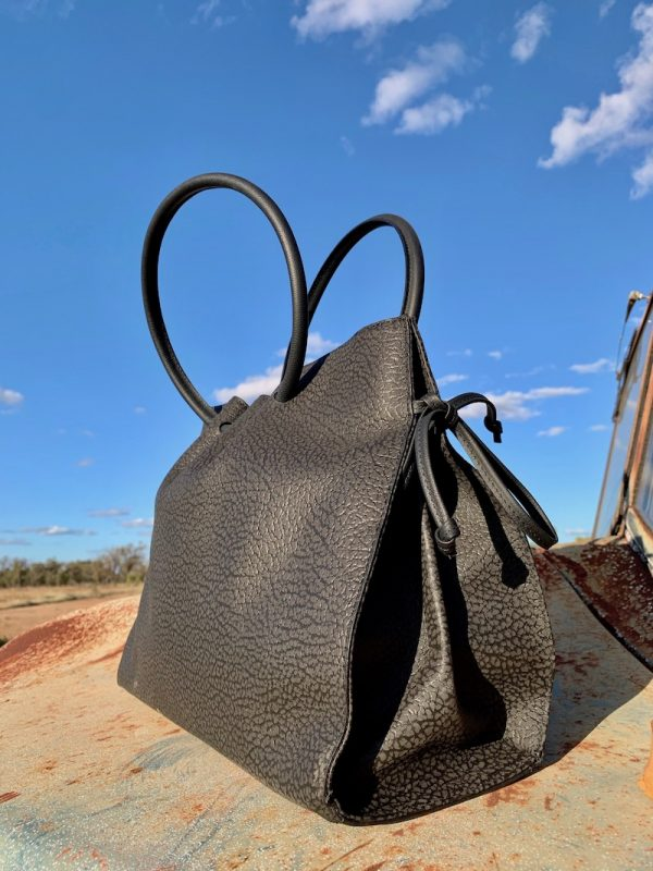 The Diamantina - Black Textured Kangaroo Leather