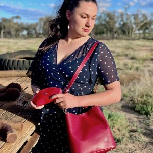 Australian Made 100% leather Bucket bag with accessory pouch Ruby Red Lizard