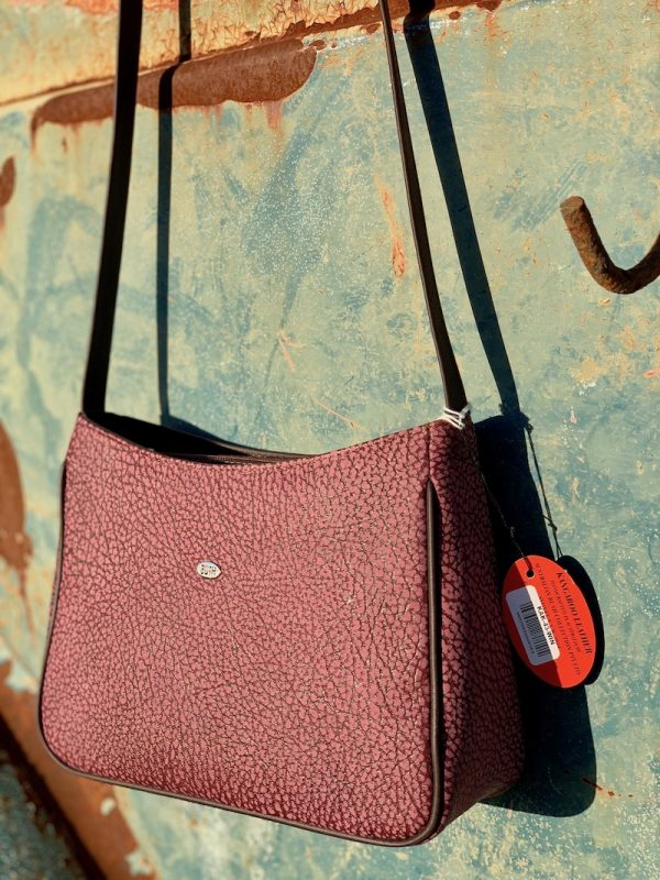 """Clara"" Textured Wine Cross Body bag in kangaroo leather"