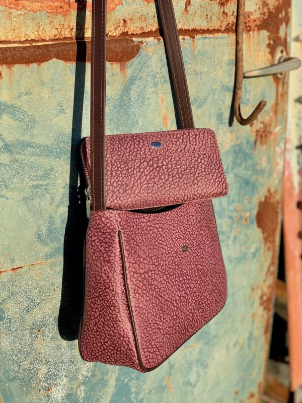 """Clara"" Textured Wine Cross Body bag in kangaroo leather with matching wallet"