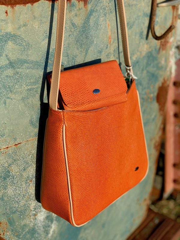 "Orange Lizard Print ""Clara"" Cross body bag with matching purse"