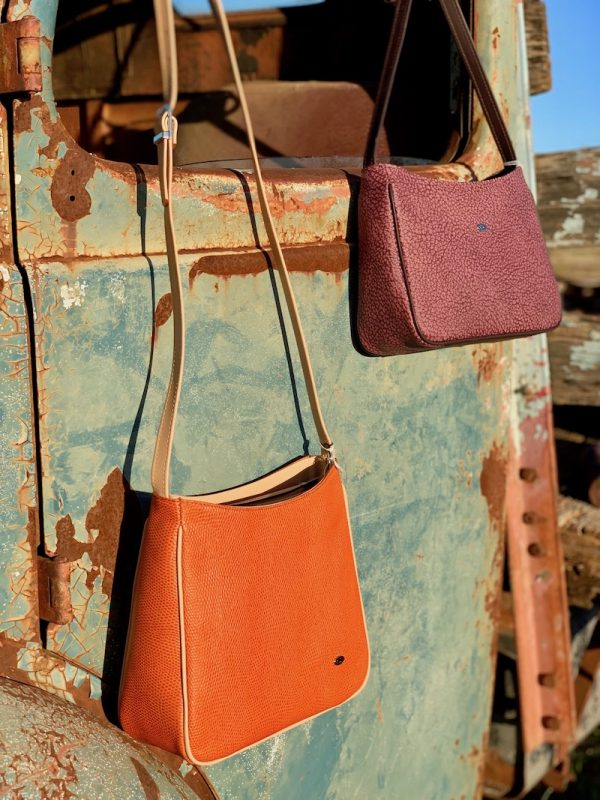 "Orange and Textured Wine ""Clara"" cross body handbags"