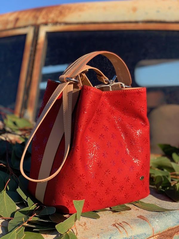 Red Floral Suede Bucket Bag