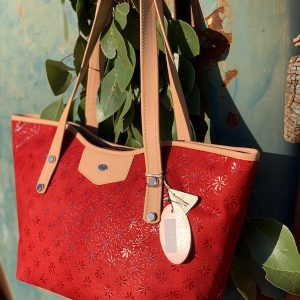 Red Floral Suede Kangaroo Leather Tote - Jardine