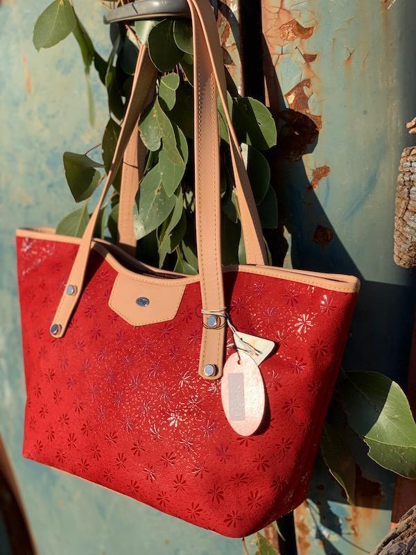 Red Floral Suede Kangaroo Leather Tote - Jardine
