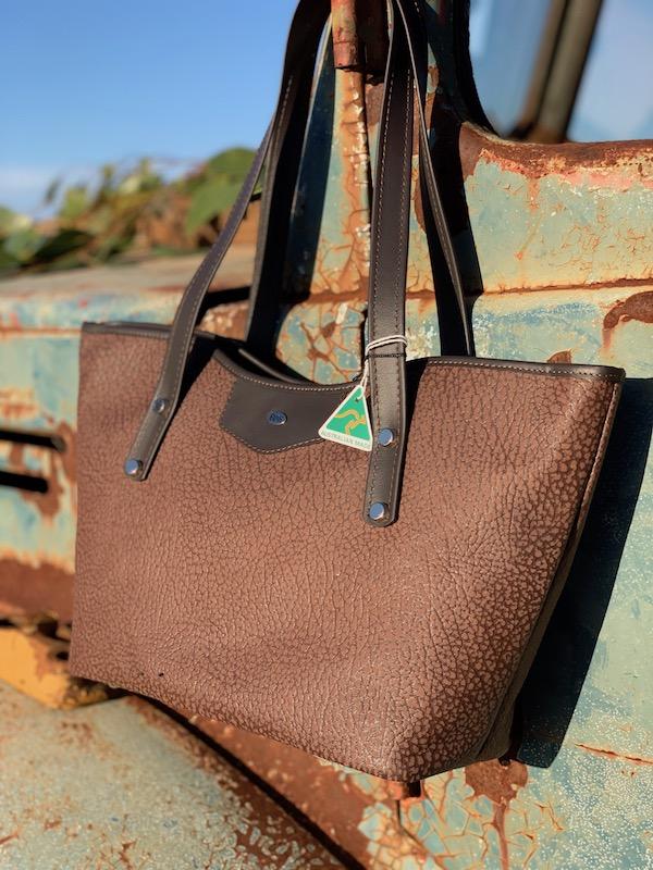 Brown Textured Kangaroo Leather Tote - Jardine