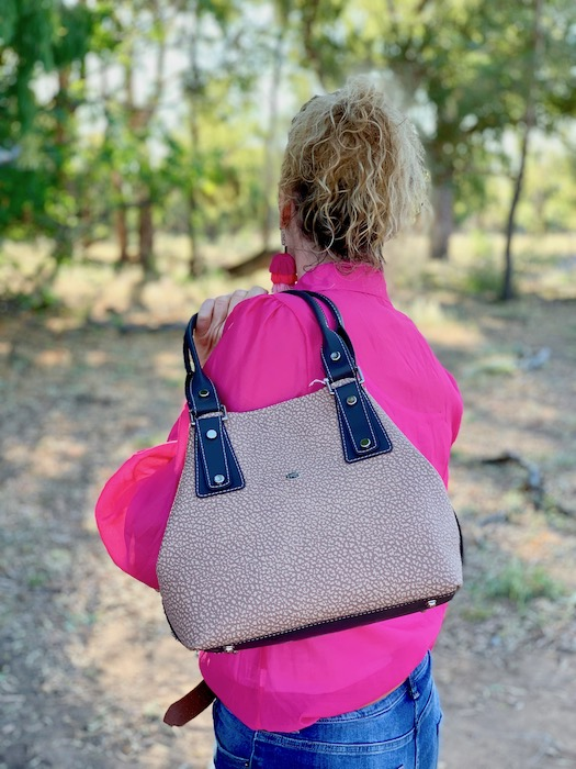 Textured Taupe Alice Kangaroo leather made in Sydney