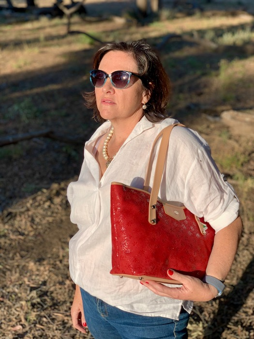 Red Floral Suede Jardine 100% Australian leather.