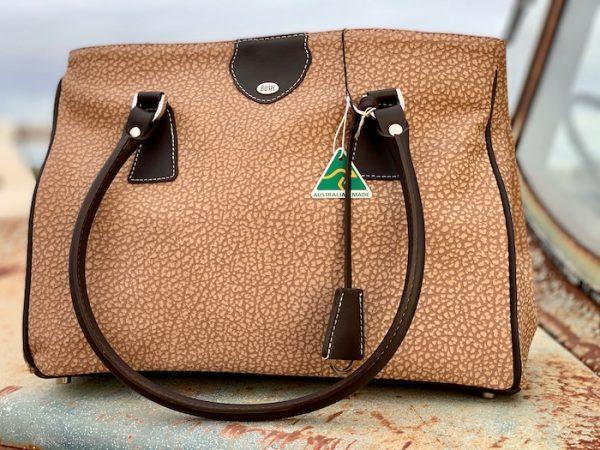 Textured Taupe Matilda kangaroo leather with dark brown trim