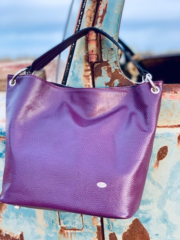 Aubergine Slouch bag in 100% leather