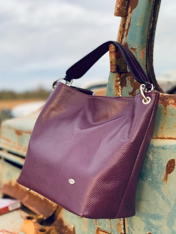 Aubergine 100% Leather Slouch bag