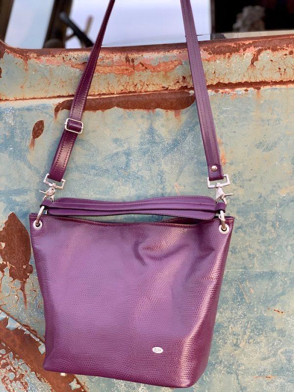 Aubergine Lizard Print 100% Leather Slouch bag