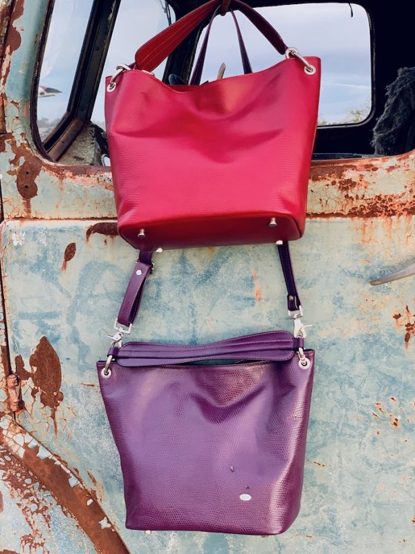 Ruby Red and Aubergine Lizard Print 100% Leather Slouch bag