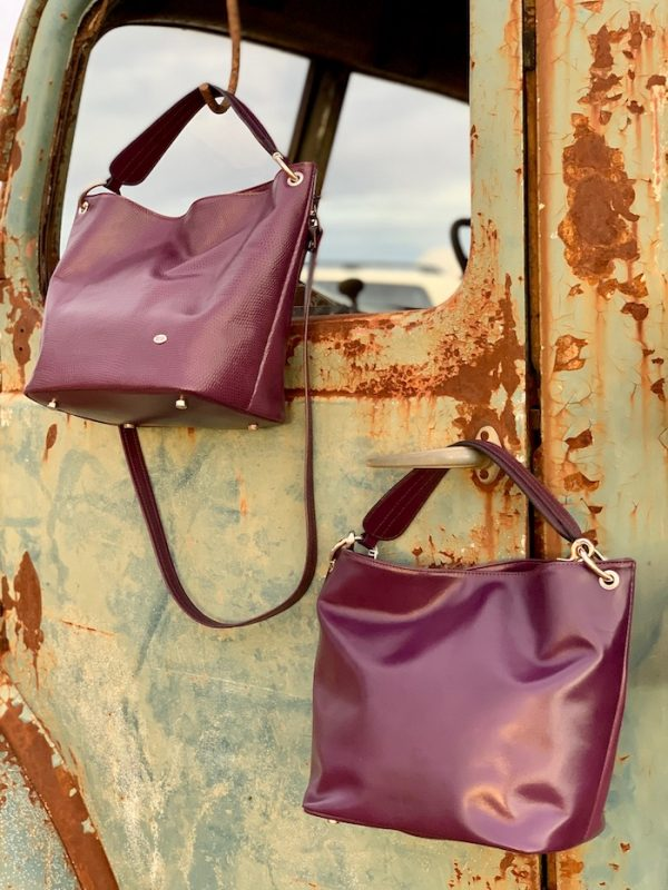 Aubergine 100% Leather Slouch bag in Lizard print and plain.