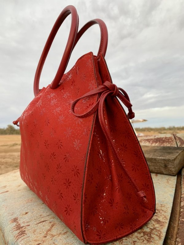 Red Floral Diamantina with red lizard print trim 100% leather and Australian made.