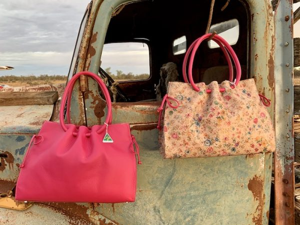 Yellow Floral Diamantina with hot pink print trim and Hot Pink Diamantina 100% leather and Australian made.