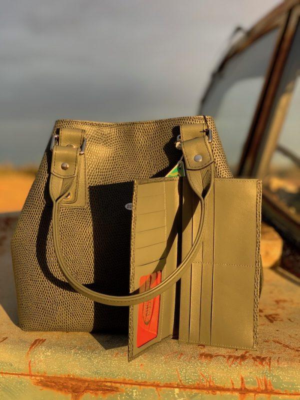 Grey Lizard Print Kangaroo 100% leather Alice handbag