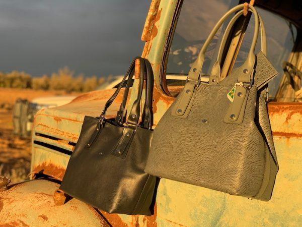Grey and Navy Lizard Print Kangaroo 100% leather Alice handbag