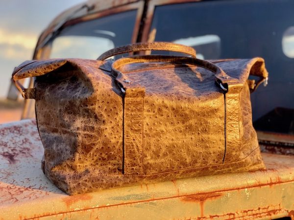 Longhaul Weekender in Distressed Ostrich Print in 100% leather