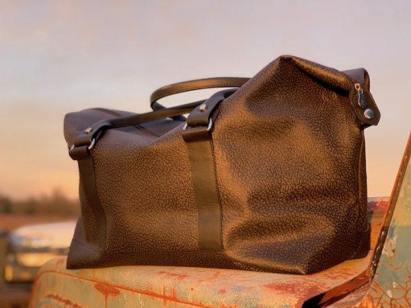 Longhaul Weekender in Textured Blanc 100% Kangaroo leather made in Australia