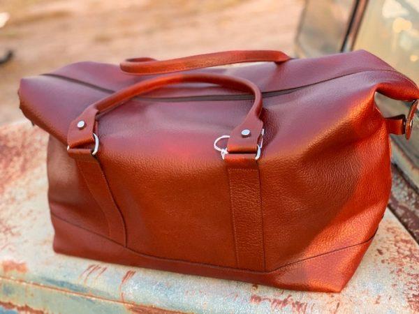 Longhaul Weekender in Rich Brown Kangaroo leather made in Australia