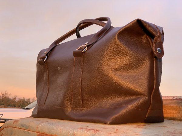 Longhaul Weekender in Dark Brown Kangaroo Leather Australian Made