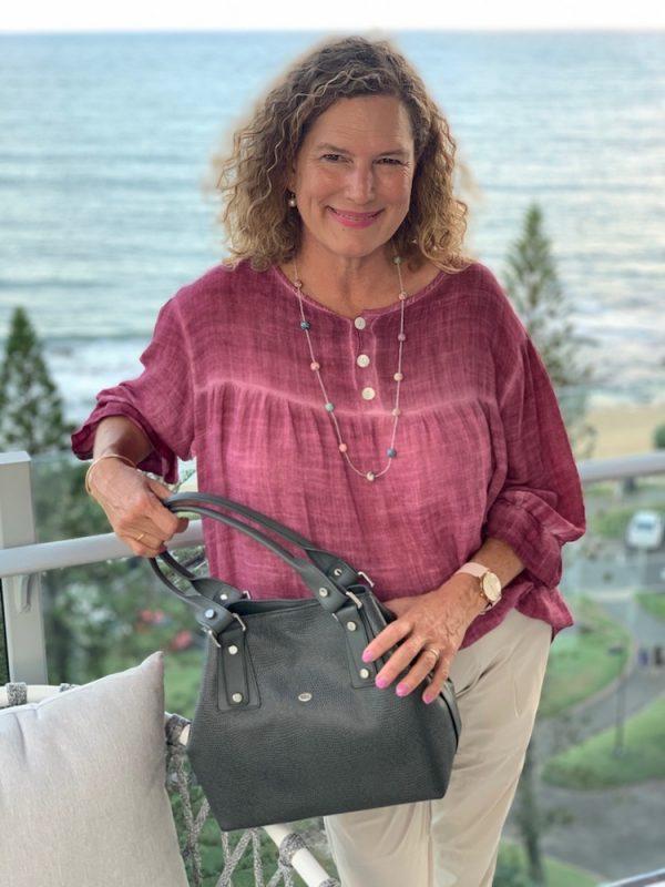Grey Lizard print Kangaroo leather Alice handbag