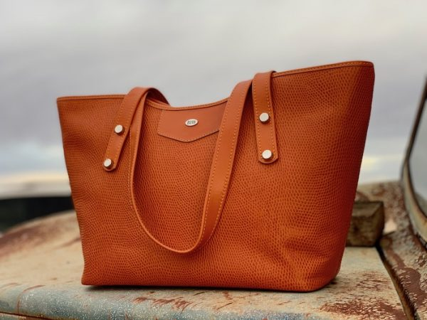 Orange Lizard Print Kangaroo Leather Australian made Jardine Tote