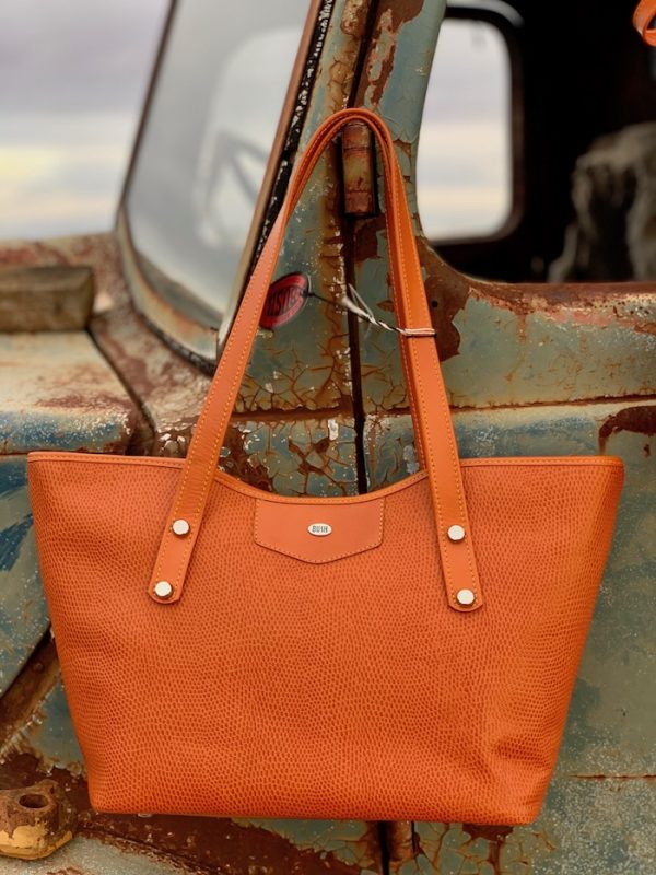 Orange Lizard Print Kangaroo Leather Jardine Tote