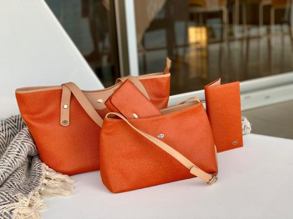 Collection of Orange Lizard Print handbags and wallets in Kangaroo Leather